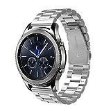 Simpeak Compatible Samsung Gear S3 Reloj Correa, Samsung Galaxy Watch (46mm) Acero Inoxidable Banda de Reemplazo Tres Hebilla de Cuentas Diseño Correa para Samsung Gear S3 Classic/Frontier - Plata