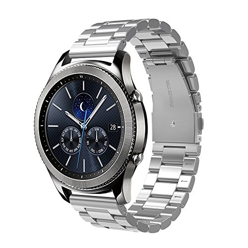 Simpeak Cinturino Compatibile per Samsung Gear S3/ 3 Frontier/Classic/Galaxy Watch 46mm Galaxy Watch Active 40mm Banda in Acciaio Inossidabile,Fibbia di Metallo, Argento