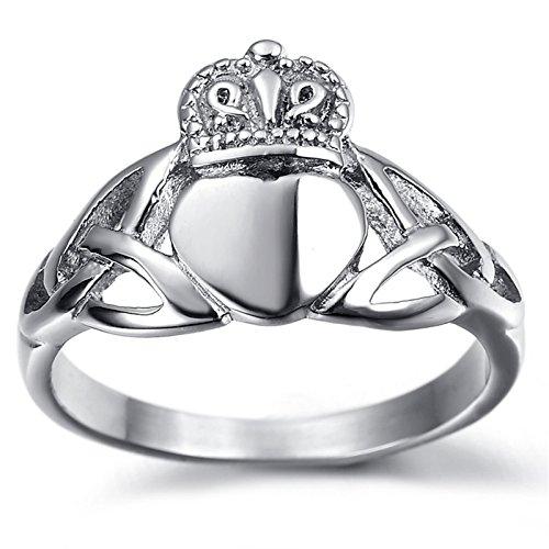 Adisaer Ring Herren Silber Ring Männer Rocker Punk Silber Herz mit Krone Celtic Knoten Ring Größe 60 (19.1) Retro Bandring Memoir Ringe Für Herrn