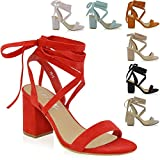 ESSEX GLAM Womens Lace Up Block Mid Heel Ankle Tie Wrap Lace Up Strappy Sandal Shoes
