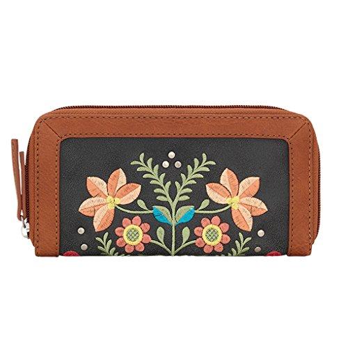 American West Bandana Ladies Zip Around Wallet(Charcoal Maya) (West Geldbörse American)