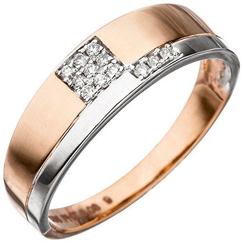*GIRAHLUTIONS* Damen Ring 585 Gold Rotgold Weißgold bicolor 12 Diamanten Brillanten Rotgoldring