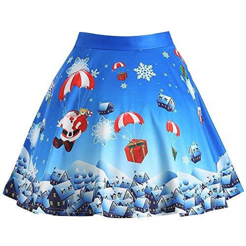 hnachtsmann Print Plus Size Rock Frauen Vintage Röcke Blumendruck Hohe Taille Plissee Eine Linie Wiggle Knielangen Rock Stil Vintage Rock Knie ()