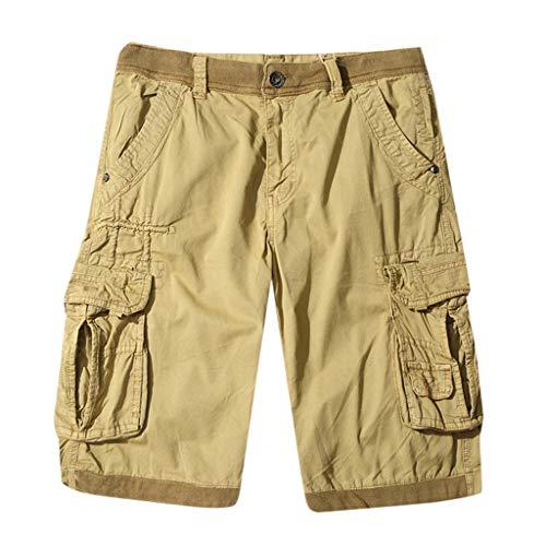 Herren Cargo Shorts Cargoshorts Kurze Hose Sommer Werkzeug Shorts INS Marke Flut Männer Lose Studenten Fünf Punkt Hosen Harajuku Stil Casual Hip Hop Hosen (30, Khaki) -