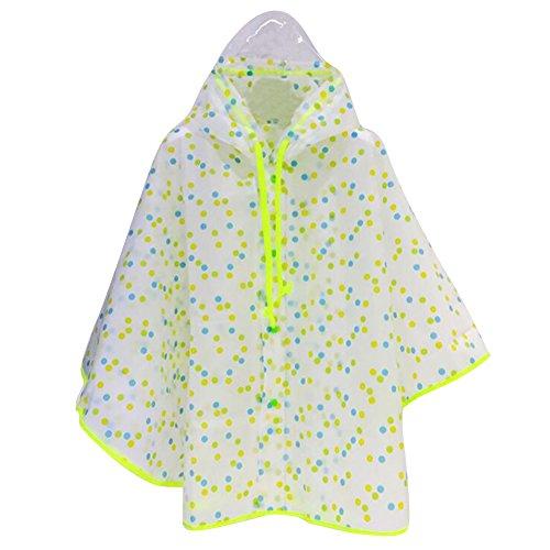 Gagacity poncho antipioggia per bambini con cappuccio. materiali di protezione ambientale eva. impermeabile da montagna per ragazze verde/s