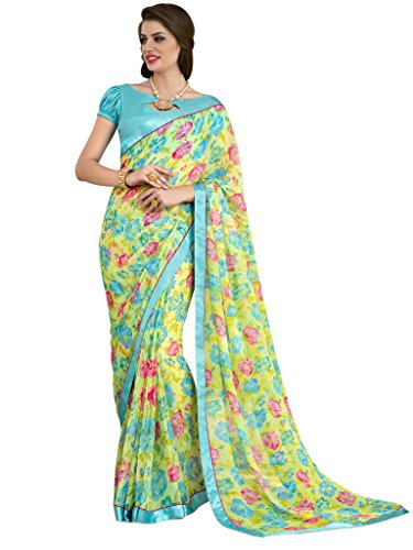 Sarees (Vastrang Sarees Women\'s Yellow & Sky Blue Color Beautiful Printed Pure Georgette Designer Party wear printed Saree with Art Silk Print Lace Border & same Border Matching Printed Art Silk Blou