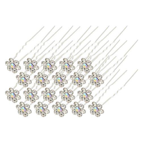 Sanwood® Lot de 20 de mariage mariée perle fleur strass cristal épingles à cheveux clips Grips
