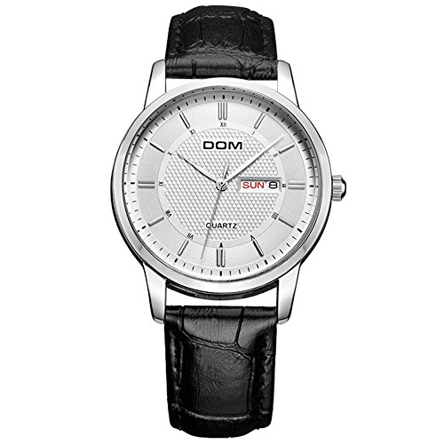 DOM Herren Quarz Armbanduhr Luxus Uhr mit Woche Kalender Display Business Casual Style