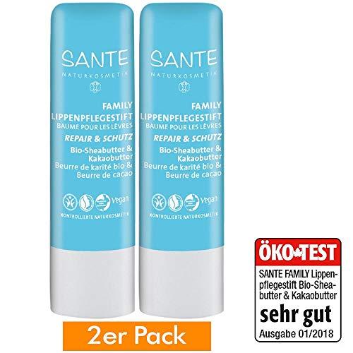 SANTE Naturkosmetik Lippenpflegestift Bio-Sheabutter & Kakaobutter extra sensitiv, Schützt spröde Lippen, Vegan, 4.5g, 1er Pack