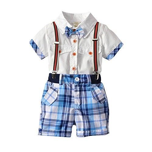 aumwolle Korean männlichen und Weiblichen Gentleman zurück führen Knoten Shorts Kurzarm-Shirt vierteilige Kinder Anzug, 90cm ()