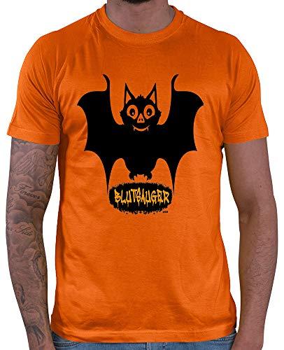 HARIZ  Herren T-Shirt Blutsauger Halloween Kostüm Horror Kürbis Plus Geschenkkarte Orange 3XL