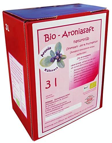 BIO Aroniasaft 3l Box, Neue Ernte 2018, Muttersaft, 100% Direktsaft, Original von Aronia Kühnert, 3 Liter, 100% BIO Muttersaft aus vollreifen Beeren, 3l Aronia Saft Hohenstein-Ernstthal Groß-saft