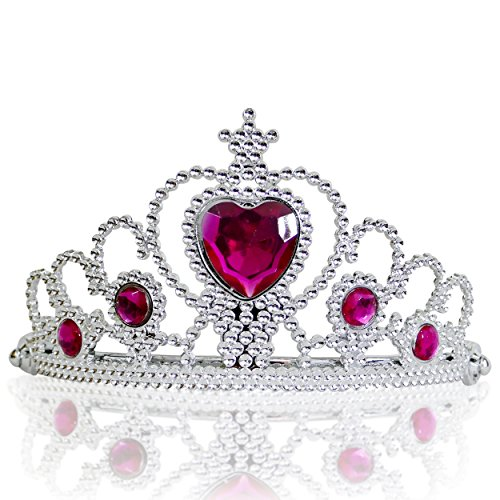Katara 1682 - Prinzessin Diadem Krone, Verkleidung Kostüm, Fasching Karneval, Haarspange, Silber/Dunkelrosa