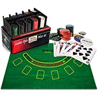 WICKED GIZMOS Professional Casino Style 200 Piece Texas Hold'em Poker and Blackjack Game Play Set with Felt Mat, Chips, Chip Deck, Playing Cards and Tin Gift Box