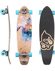 STAR-SKATEBOARDS® Premium Longboard de arce canadiense Top Mount Longboard ★ 65mm Flex Carving/Cruiser Edition ★ Turtle Art by Tilen Ty Design