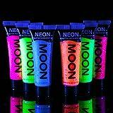 Moon Glow - Lot de 6x10 ml Tube de UV Néon maquillage Gel pailleté visage et corps peinture...