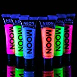 Moon Glow - Neon 6x12ml UV Glitter Gel Bodypaint Körpermalfarben Schwarzlicht fluoreszierende Schminke Bodypainting Neon Farben Leuchtfarben