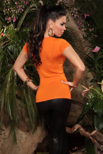 "KouCla Damen T-Shirt Top Longshirt ""Glam"" Rundhals-Auschnitt Orange"
