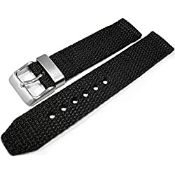 Black Woven Nylon 20mm Watch Strap Band Brushed Stainless Steel Buckle