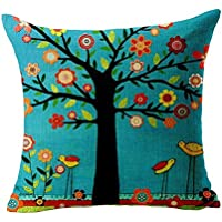 Nunubee Cotton Linen Cushion Cover 18X18 Pillowcase Throw Pillow Case Sofa Decoration Green Bird Tree