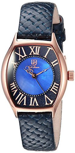 S.COIFMAN WOMEN'S BLUE LEATHER BAND STEEL CASE QUARTZ ANALOG WATCH SC0385