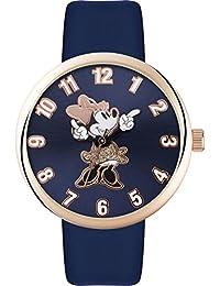 Disney Adult El ratón de Minnie caja de oro rosa azul de la correa MN1471