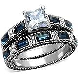 1 Carat Princess Cut CZ /Blue Sapphire CZ Women's Stainless Steel Wedding/Engagement Ring Set