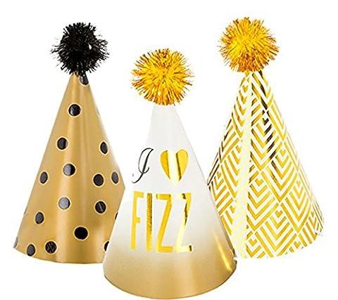 Karnevalsbud - Mini Party Hüte Glitterati, 11 cm, 6 Stück , Gold (Deutschen Offizier Hut Kostüm)