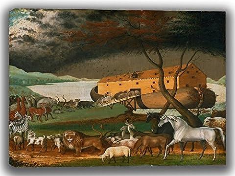 Edward Hicks: Noah's Ark. Fine Art Canvas. (30 x 20 Inches)