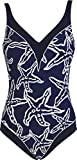 Red Point Beachwear, Damen, Badeanzug, Schlankmachend mit Bügeln, Elia, EU Grösse: 42, Cup C, marineblau/weiss