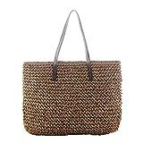 Fancylande - Borsa in rattan borsa quadrata borsa da spiaggia donna borsa di paglia borsa da spiaggia paglia fatta a mano moda casual viaggi vacanza regalo ideale per donna ragazza