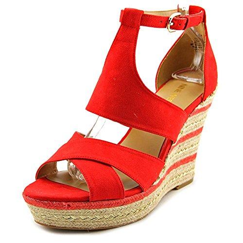 Nine West Jinio Femmes Toile Sandales Compensés Toma Red