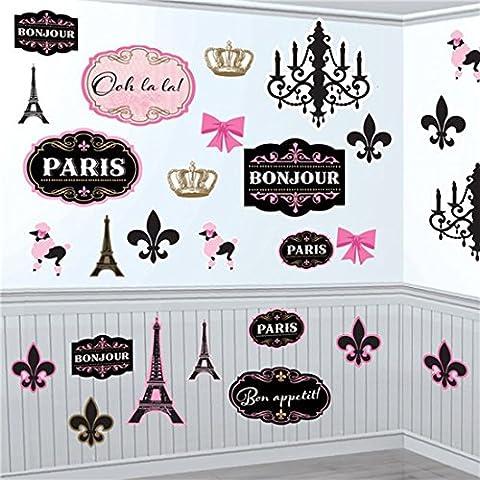 Confettery - Party Dekoration Cutouts - kultiger Paris-Look - 30 Stück, Rosa