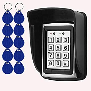 OBO HANDS Rfid Metal Access Control Keypad + Waterproof Cover+10pcs 125KHz Keychains for Contactless Door Controller Electric Security Lock