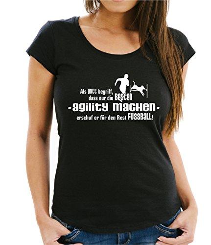 Siviwonder GOTT AGILITY Hundesport NO Fußball Hund Hunde - WOMEN Girlie T-Shirt black S -34