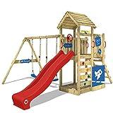 WICKEY Spielturm MultiFlyer DeLuxe Spielplatz Klettergerüst mit Holzdach, rote Rutsche, Doppelschaukel und Sandkasten