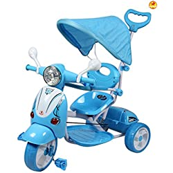 GoodLuck Baybee Kids Vespa Tricycle Trike with Canopy and Parent Push Control (1 to 5 Years, Blue, ESTS08B)