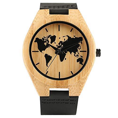 Holz Armbanduhr, Handgemachte Bambus Quarz World Map Muster Design Fashion Leder Armbanduhr, Bambus Armbanduhr Armband