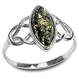Noda Damen-Ring keltisch grün-bezogener Bernstein und Silber 925 Größe 62 (19,7)