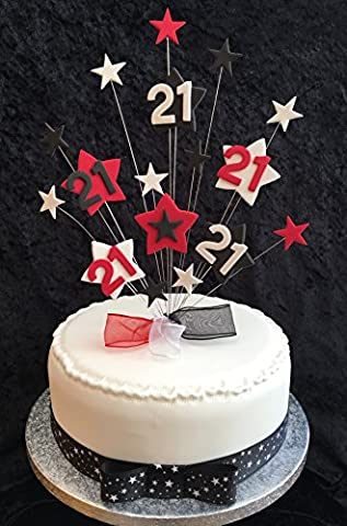 21st Birthday Cake Topper Red, Black And White Stars PLUS 1 x Metre 25mm Black With White Stars Grosgrain Ribbon With Ready Made Attached Bow