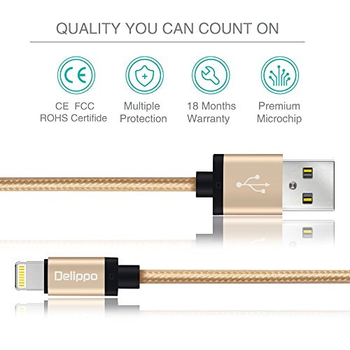 Delippo® 3.3ft/1M Nylon Ummanteltes USB Kabel Datenkabel mit Blitz-Anschluss [Apple MFi Zertifiziert] für iPhone 6/6 Plus, iPad Air 2 usw.(Golden) - 2