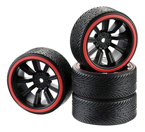 Unbekannt Absima 2510048 - RC Car Räderset Drift 9-Speichen Profil B Felge Ring 1:10, 4 Stück, schwarz/rot (10 Rc 1 Car Felgen)
