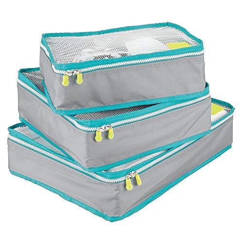 mDesign Juego de 3 Cajas de Almacenamiento con Cremallera - Bolsas de Tela o Bolsas de Viaje para Maletas o Bolsos - Cestas de poliéster Transpirable con Malla - Gris, Turquesa y Blanco