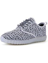 JSHOE Paar LED Glühende Schuhe USB Aufladen Leuchtende Schuhe Männer Und Frauen Freizeit Sport Kokos Schuhe,White-45