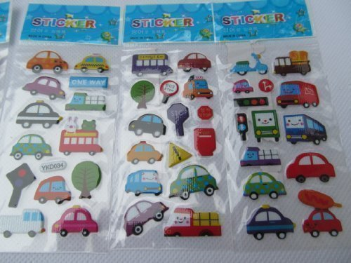 5 petites feuilles de voitures, bus, circulation, camion, van Autocollants pour enfants gar