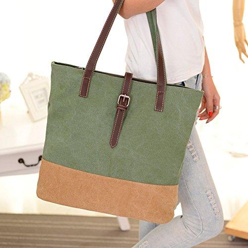 Borsa a mano tracolla in Tela, AIDEAL Donna Elegante Borse tote a spalla Grande Borse da viaggio shopper (Grigio) verde