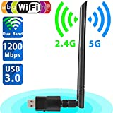Beeviuc wireless 1200Mbps USB 3.0Dongle WiFi Dual Band 2.4G/300Mbps + 5G/867MBPS adattatore di rete wireless con antenna 5DBI