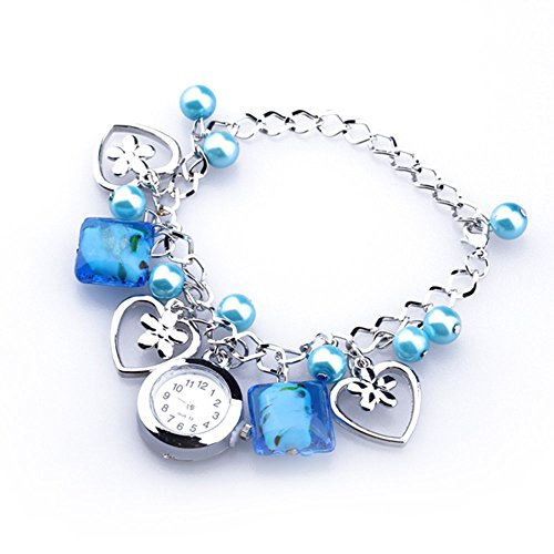 SODIAL(R)Braccialetto Pendenti orologio da polso da donne blu acrilico perle di quarzo quadrante rotondo