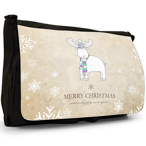 Natale e Anno Nuovo Wishes–Borsa Tracolla Tela Nera Grande Scuola/Borsa Per Laptop Reindeer In Winter Hat & Scarf