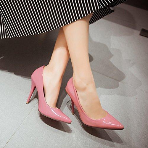YE Damen High Heels Spitze Stilettos Lackleder Pumps mit Roter Sohle 10cm Absatz Kleid Schuhe Rosa